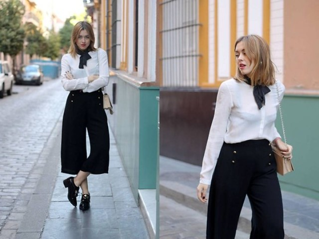 With white blouse, beige chain strap bag, black scarf and black lace up low heeled shoes