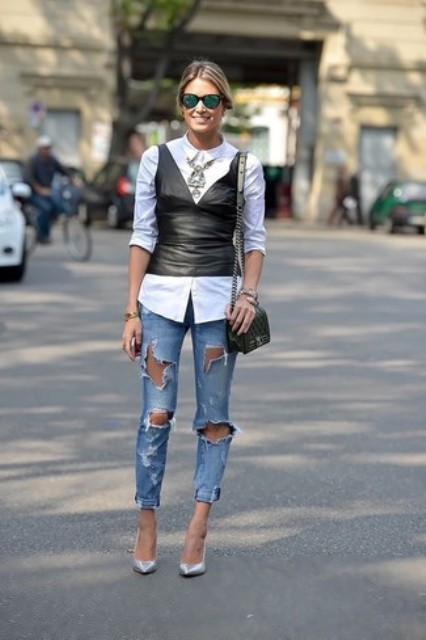 With white button down shirt, chain strap bag, silver pumps and super distressed jeans