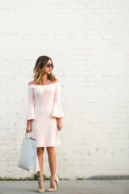 With white tote bag and beige high heels