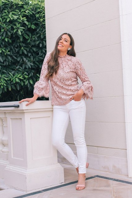 With white trousers and beige low heeled sandals