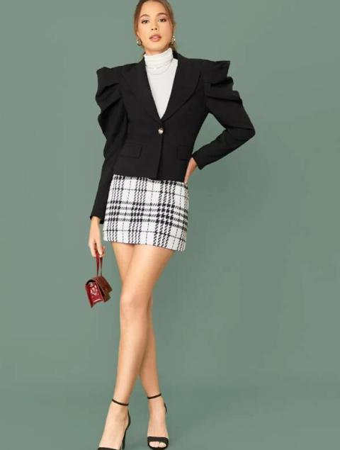 With white turtleneck, checked mini skirt, marsala bag and high heels