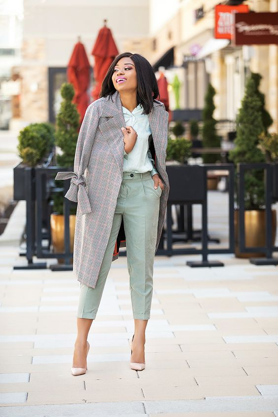 a light green short, green cropped pants, blush pumps and a grey plaid midi coat for spring