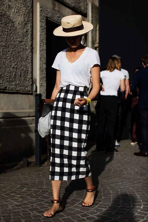a monochromatic summer look with a white tee, a plaid midi pencil skirt, sandals and a hat