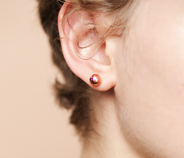 a rose gold ball stud earring is another classics but with a twist