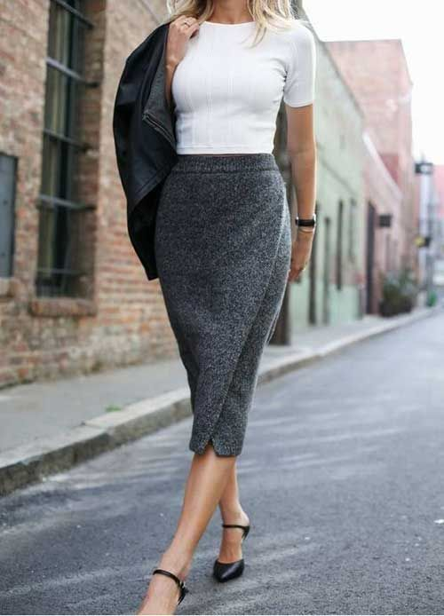 a white crop top, a grey wrap pencil midi, black Mary Jane shoes and a black jacket