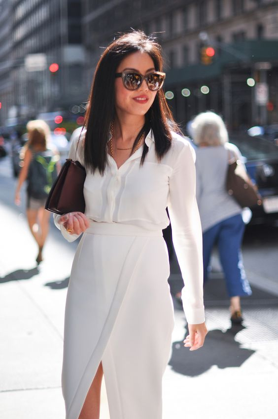 a white shirt, a white wrap midi skirt and a burgundy bag for a super elegant and refined work look