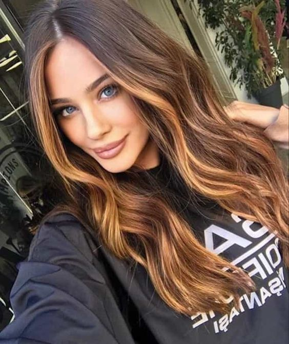 chestnut hair plus honey blonde balayage and face-framing highlights to illuminate the face