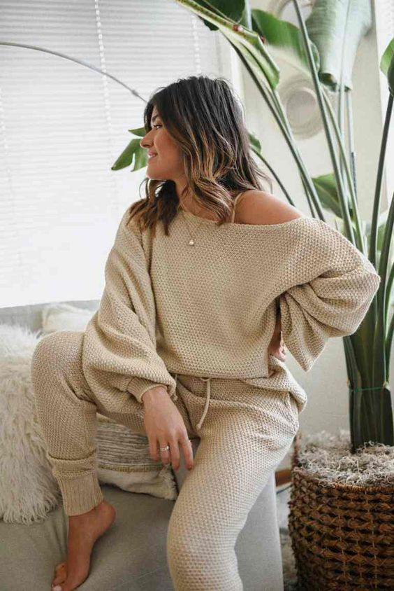 a tan crochet set with joggers and a one shoulder top is always a comfortable and sexy option