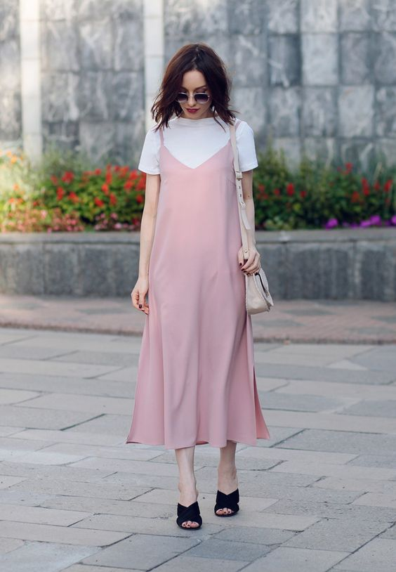 12 a white tee, a light pink slip midi dress, black velvet mules and a nude bag for summer