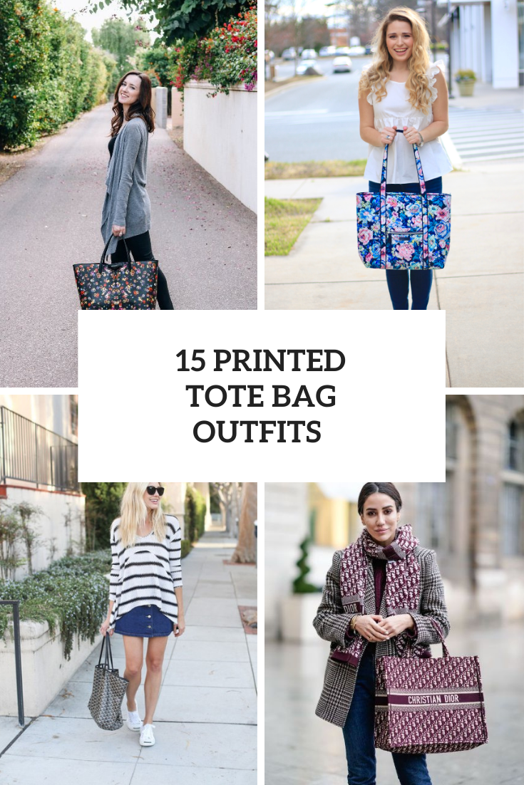 15 Cool Outfits With Printed Tote Bags