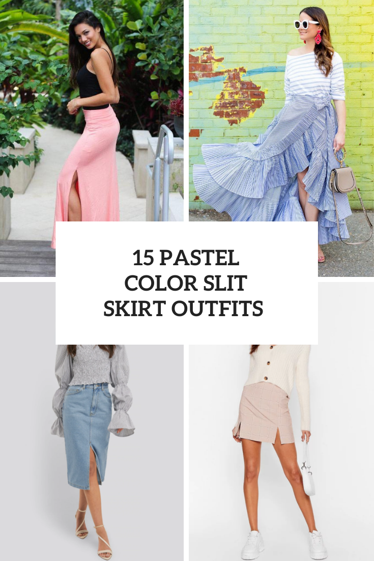 15 Outfits With Pastel Color Slit Skirts