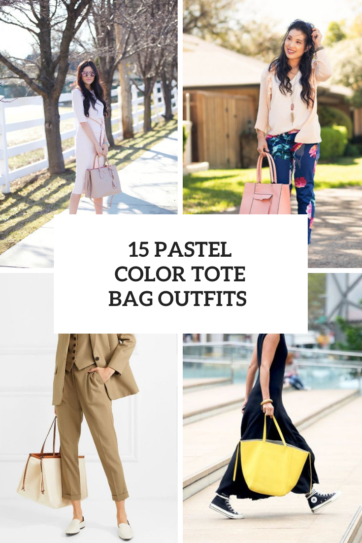 15 Outfits With Pastel Color Tote Bags