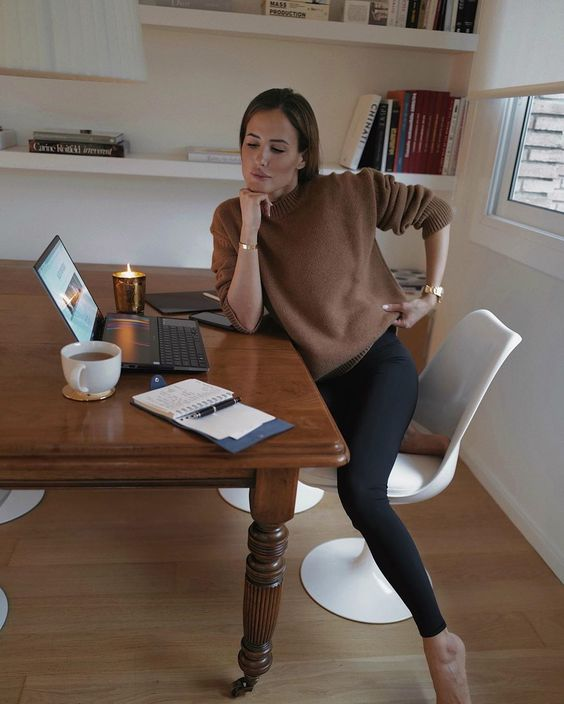 black leggigns plus a taupe sweater for comfrotable working from home and having calls