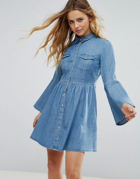 Denim bell sleeve mini shirtdress