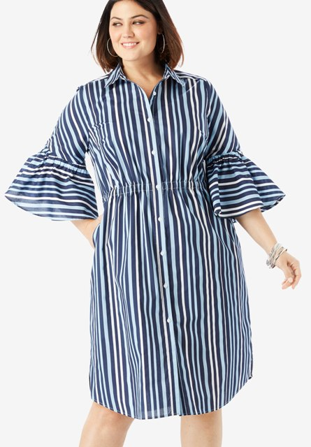Striped bell sleeve knee-length shirtdress