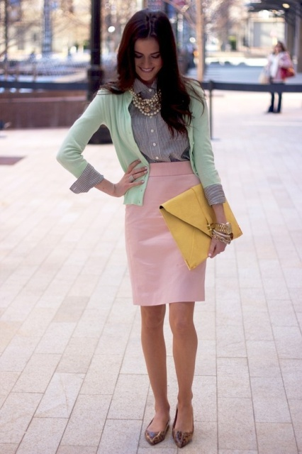 With button down shirt, mint green cardigan, pale pink skirt and flat shoes