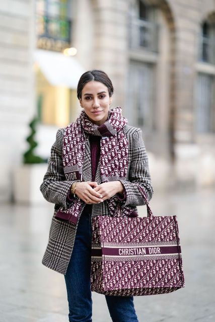 With checked blazer, printed scarf, jeans and marsala sweater