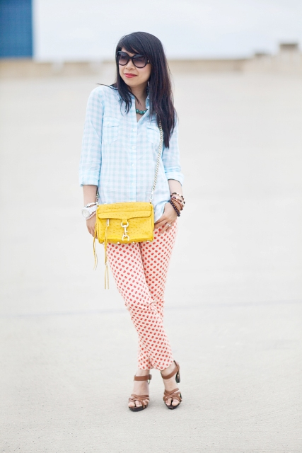 With checked button down shirt, polka dot pants and brown sandals