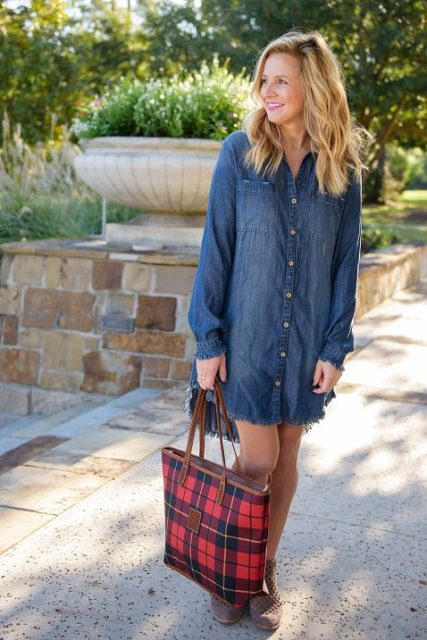 With denim button down dress and boots