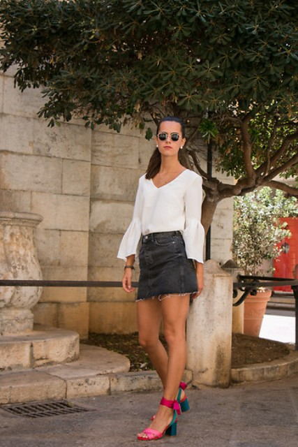With gray denim mini skirt and two colored sandals