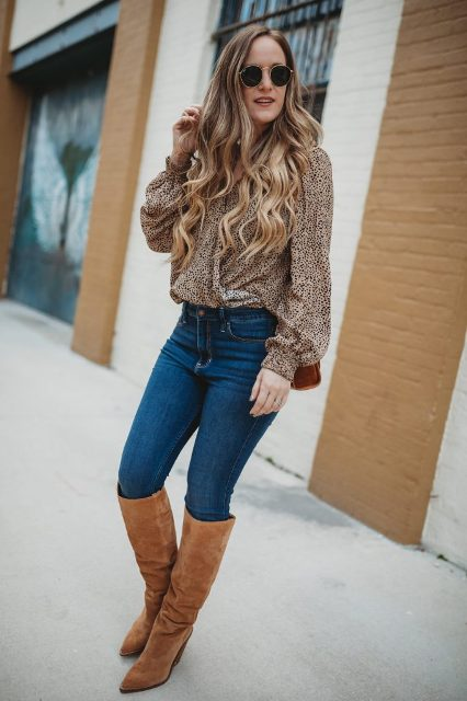 With jeans, brown suede high boots and bag