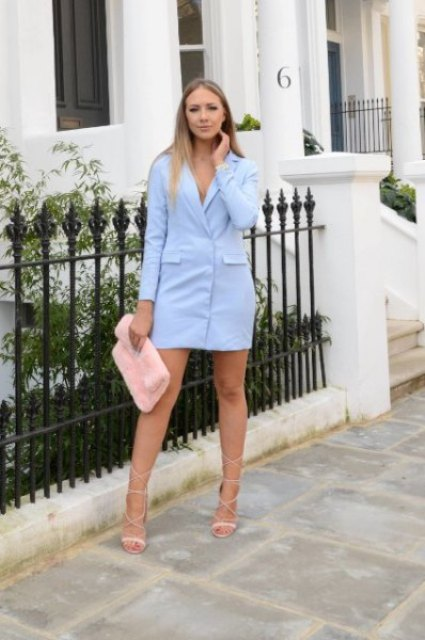 With light blue blazer dress and lace up high heels