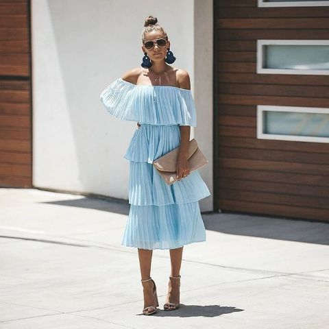 With light blue off the shoulder midi dress and ankle strap shoes