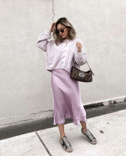 With lilac loose sweater, printed bag and printed lace up flat shoes