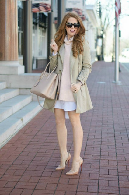 With loose turtleneck, beige coat, white shirtdress and beige pumps