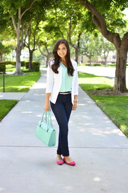 With mint green blouse, white blazer, navy blue jeans and pink flat shoes
