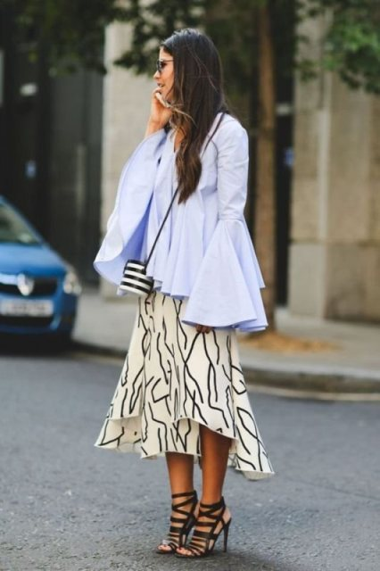 With printed skirt, striped mini bag and black lace up high heels