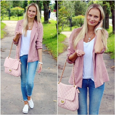 With skinny jeans, white top, pale pink blazer and white shoes