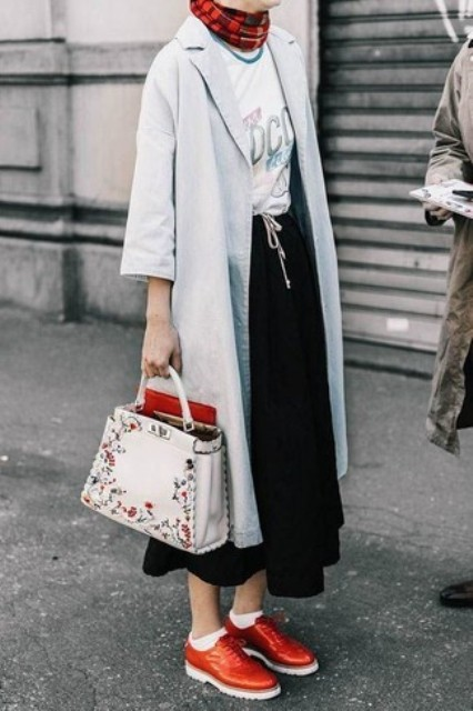 With t-shirt, light gray coat, printed scarf and red patent leather lace up shoes