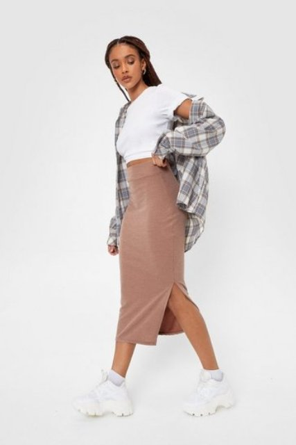 With white crop t-shirt, plaid loose shirt and white sneakers