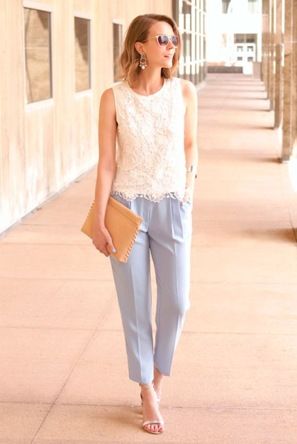 With white lace top, light blue pants and shoes