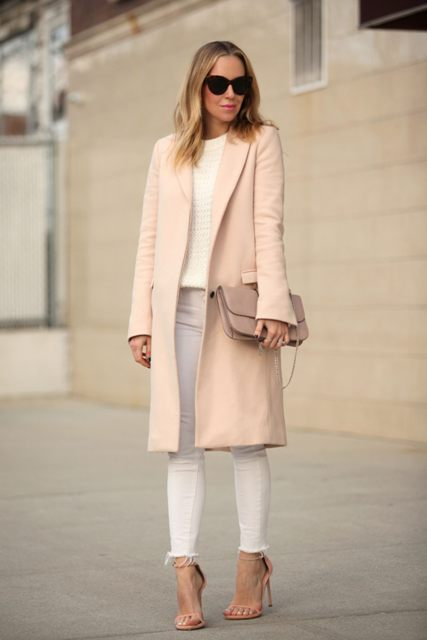 With white sweater, pale pink coat, white skinny pants and beige high heels