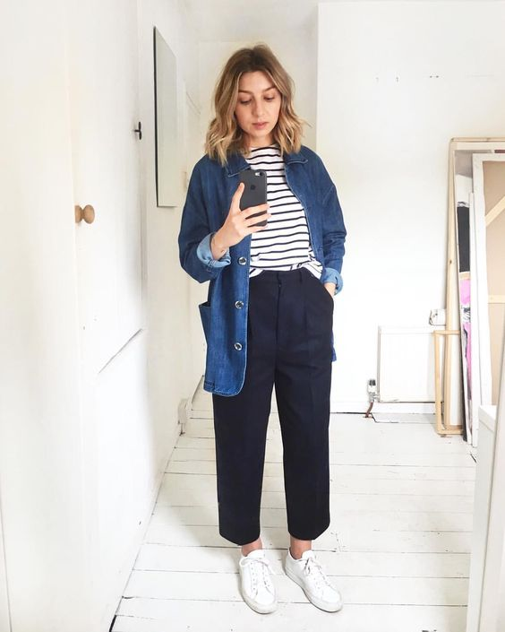 a Breton stripe top, navy trousers, a denim oversized shirt and white sneakers for every day