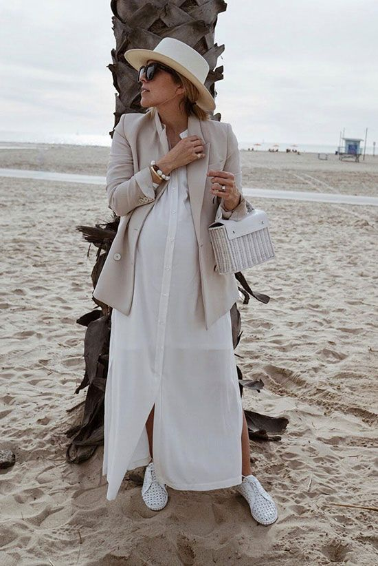 a beach look with a white maxi shirtdress, a neutral blazer, a neutral hat, white shoes and a white woven bag