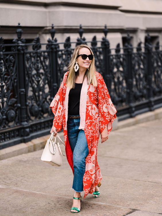 a black top, blue jeans, a red vintage kimono, green printed shoes and statement earrings