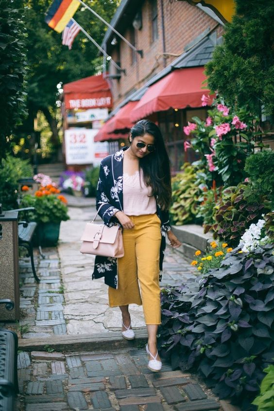 a blush lingerie style top, mustard culottes, white espedrilles and a blush bag plus a dark floral kimono