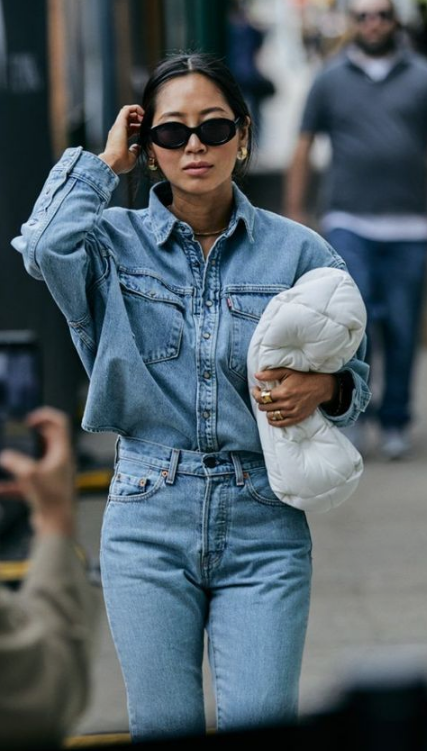 a classic total denim look with a chambray shirt and matching jeans for creating a taller and thinner silhouette