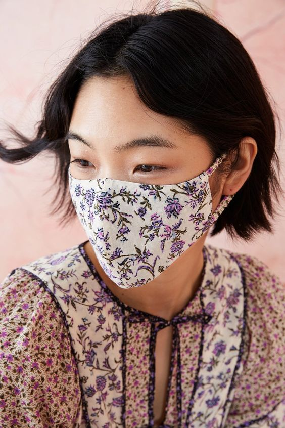 a lovely printed floral mask that matches the outfit is a very cool and girlish idea to try