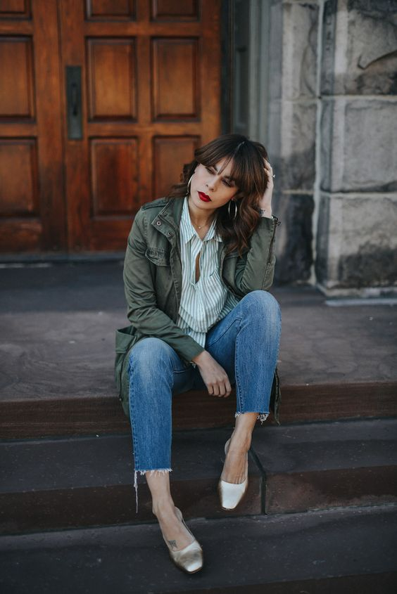 a cute spring look with an army jacket