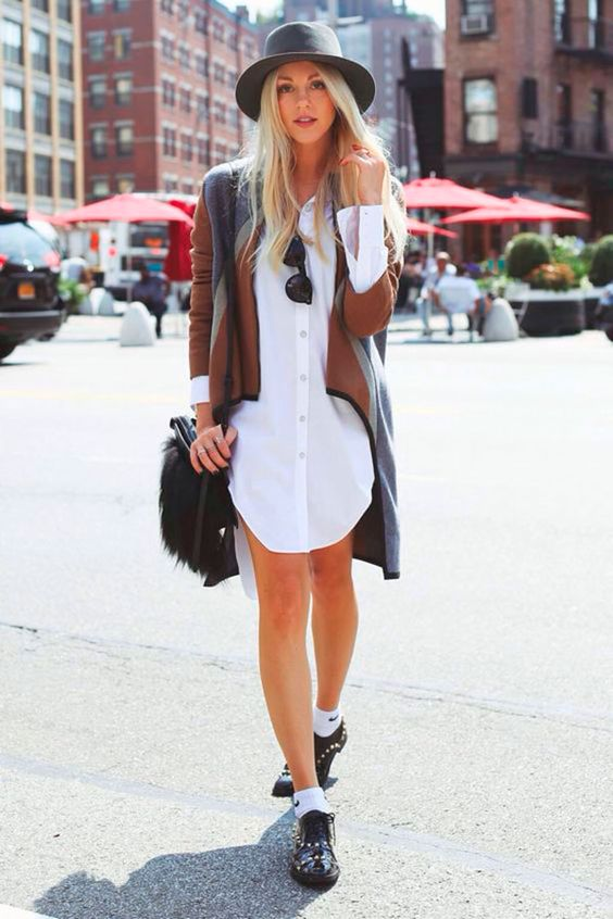 a white shirtdress, a color block cardigan, a grye hat, a black faux fur bag and black studded Oxford shoes