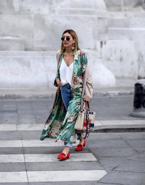 a white top, blue jeans, red moccasins, a green floral kimono and statement earrings for this summer