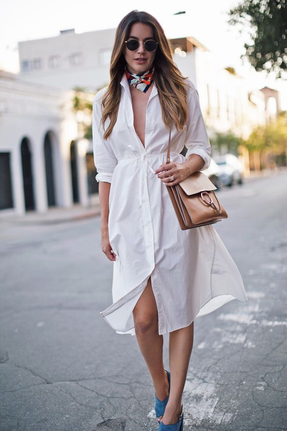 a wite midi shirtdress, a bright bandana, blue shoes and a brown bag for a cool summer look
