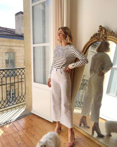 an elegant look with a Breton striped top, white jeans and mauve heels is a lovely idea for a spring day