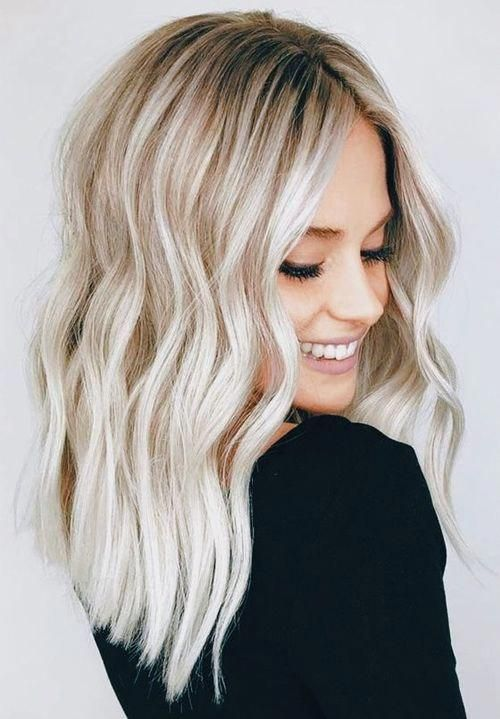 an exciting silver champagne balayage with a darker root is a very beautiful idea