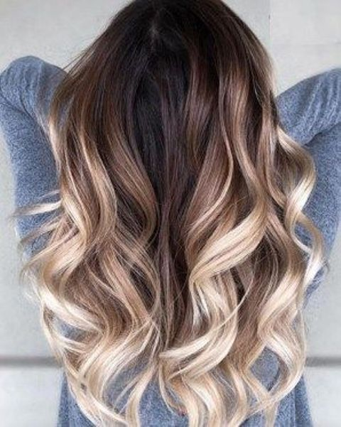 rooty blonde balayage with a gradual and natural look and waves for a chic touch