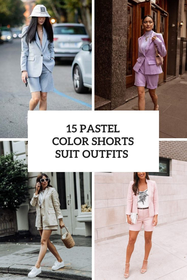 Looks With Pastel Color Shorts Suits
